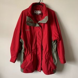Columbia oversized red and gray long winter jacket